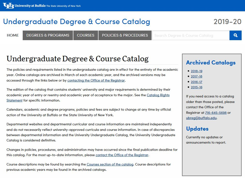 Screenshot of the UB Undergraduate Catalog Homepage